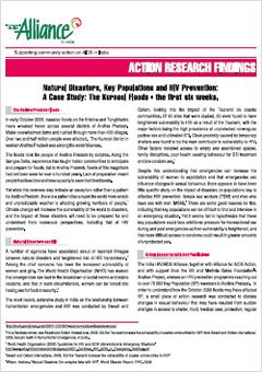 Natural Disasters, Key Populations and HIV Prevention: A Case Study of Kurnool Floods – First Six Weeks