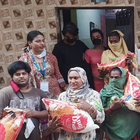 Transgender community members with ration received from Samarth Delhi team